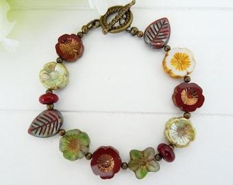 Czech Glass Bracelet, Flower and Leaf Bracelet, Green Bracelet, Red Bracelet, Burgundy Bracelet, Flower Bracelet, Daisy bracelet, Leaves.