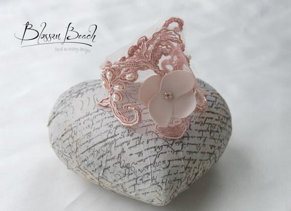 Mauve blush hand-beaded bridal lace bracelet;bridal bracelet;lace wedding bracelet