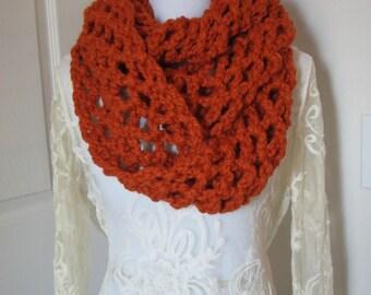 Infinity Scarf, Chunky Crocheted Scarf, Infinity Cowl, Hand Crocheted Scarf, Hand Crocheted Cowl, Orange Infinity Scarf, Circle Scarf
