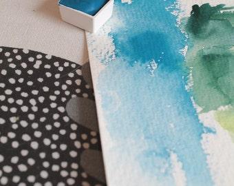 Handmade Cerulean Blue Watercolour paint half-pan