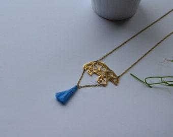 Necklace gold plated necklace geometric polar bear and small pompon