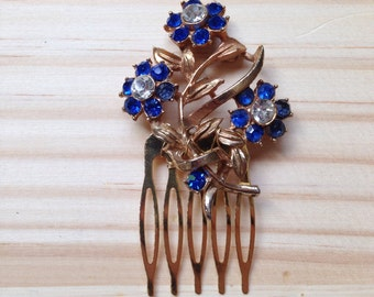 Blue Hair Comb: Clear and Blue 1950s Flower Wedding/Costume Comb