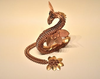 Copper Chainmaille Dragon Sculpture