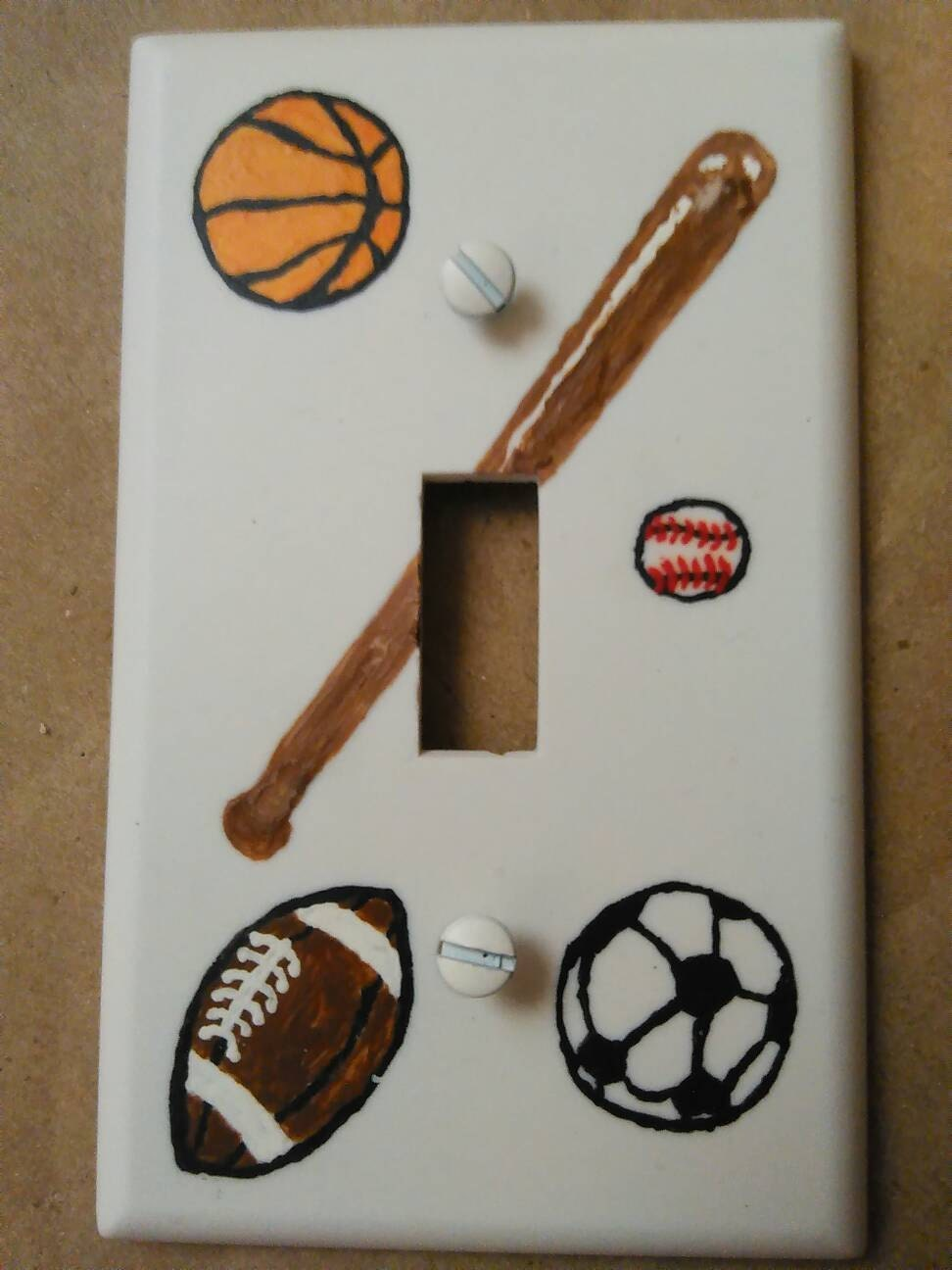 Light Switch Plate Handpainted Light Switch Plate Sports