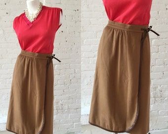1970s Gucci Cashmere Brown Wrap Skirt
