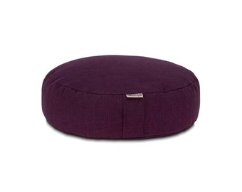 Round Meditation Yoga Pillow with buckwheat hull filling (Purple)