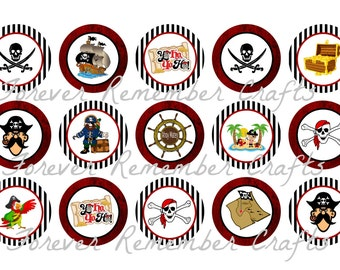 INSTANT DOWNLOAD Pirates  Bottle Cap Image Sheets *Digital Image* 4x6 Sheet With 15 Images