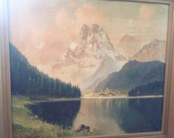 Large German painting of the Alps