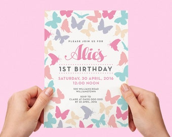 Colourful Butterfly Kids Party Invite First birthday Baby Girl Invite Toddler Pretty Butterflies 1st 2nd 3rd 4th 5th Printable Invite