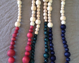 Long Two-Tone Wooden Bead Necklace