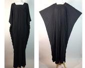 Vintage Black Batwing Caftan! Designer Georgie Keyloun 1970s Maxi dress! Large-XL