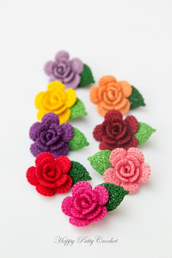 Small Rose Flower Crochet Pattern : CROCHET PATTERN - Mini Crochet Flower Pattern - Small ...