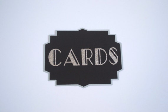 Black and Silver Art Deco Cards Sign - Card Box Sign - Wedding Cards