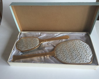 Vintage Antique Gold Plated Brush and Mirror Set by Ausco, Made in Canada