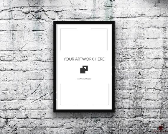 11x17 Vertical Digital BLACK FRAME MOCKUP Styled Photography Poster Mockup Old White Brick Background Framed Art Instant Download Black From MockupShop