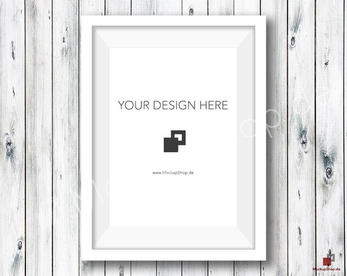 5x7 WHITE FRAME MOCKUP / Old White Wooden Wall / Frame Mockup /  White Photo Frame Mockup / Instand Download / FrameMockup / Mock Up Frame