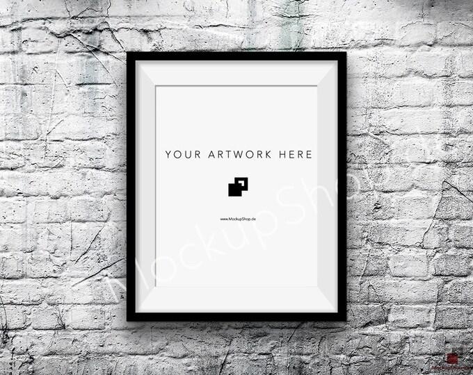 8x10 16x20 Vertical Digital BLACK FRAME MOCKUP, Styled Photography Poster Mockup, old White Brick Background, Framed Art, Instant Download