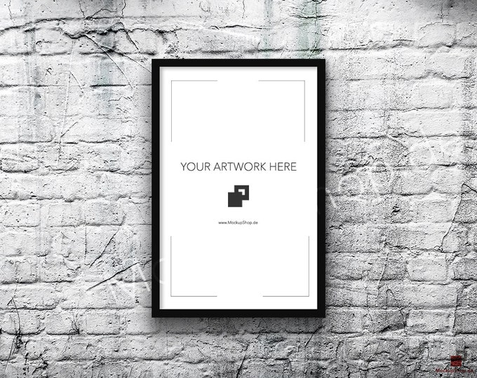 11x17 Vertical Digital BLACK FRAME MOCKUP, Styled Photography Poster Mockup, old White Brick Background, Framed Art, Instant Download Black