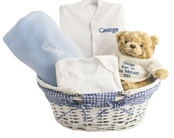 Personalised BABY LUXURY HAMPER, New Baby Gift, Baby Grow, Baby Blanket,  Baby Clothing 0-3 months