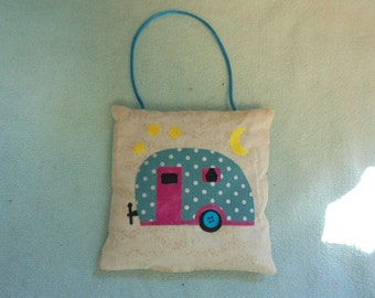 Handcrafted Appliqued Decorative Balsam Filled Pillow Ornament Camper Trailer Camp Glamping Pink and Blue
