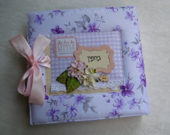 Baby album, Personalised Baby Girl Photo Album, Baby's First Year Memory Book, Pink and White Butterfly Baby Album