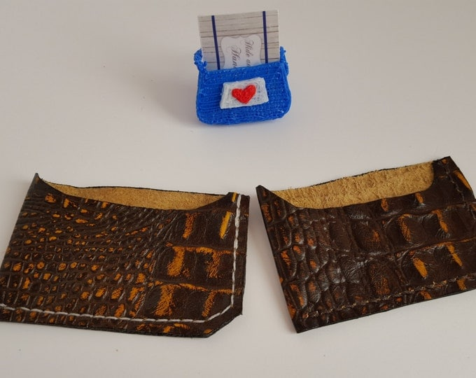 Crocodile card wallet leather card holder Minimalist card wallet Gift card holder Credit card wallet Slim card wallet Exotic Leather