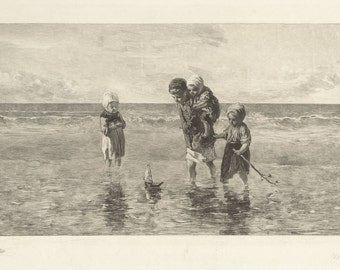 Four children playing in the sea with a homemade sailboat copy of etching by Dutch artist Carel Lodewijk Dake c1890