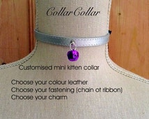 Design Your own Customised Submissive Pet Mini Leather Collar With Bell or Charm Cosplay Kitten Collar