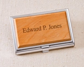 Personalized Wood Business Card Case          GC1125