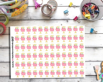 017 - (Birthday Cake Stickers) Birthday, Candles, Planner Sticker, Kiss Cut Stickers
