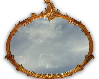 VVH Vintage Hollywood Regency Gilt Serge Roche Style Palm Foliate Large Mirror Giltwood Gold Horizontal Oval Carved France Mid Century