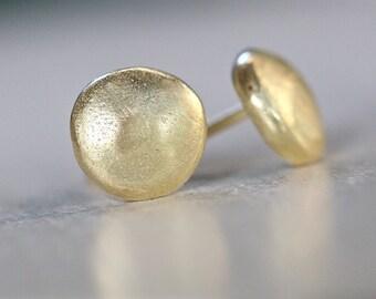 Solid gold stud earrings, 18k gold earrings, gold post earrings, simple stud earrings, small gold studs, pebble studs, Bridal Jewelry