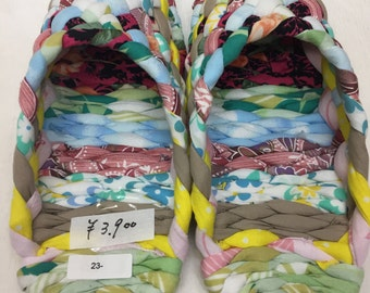 """MULES Cloth mules """" pastel """" 23 cm/ 9.1 inches Japanese hand craft"""