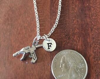 Glue Gun Initial Necklace, hot glue gun necklace, Glue Gun jewelry, Glue Gun necklace, craft jewelry, craft necklace, silver necklace
