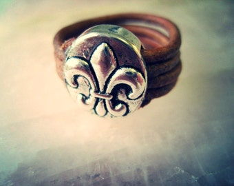 Fleur De Lis Leather Wrapped Ring