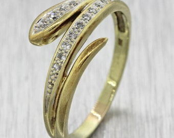 1960s Vintage Estate 14k Solid Yellow Gold .13ctw Diamond Snake Serpent Ring