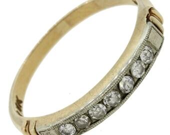 1920s Art Deco 14K Yellow 18K White Gold Diamond Wedding Anniversary Band Ring