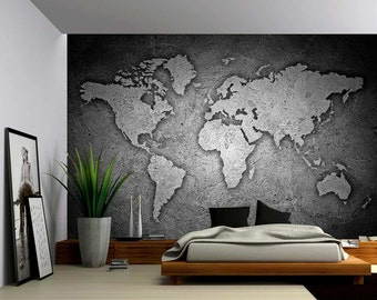 Awesome Black And White Stone Texture World Map   Large Wall Mural, Self Adhesive  Vinyl Amazing Ideas