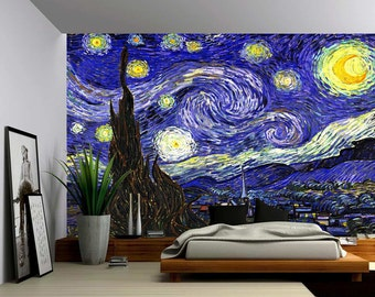 Starry Night - Large Wall Mural, Self-adhesive Vinyl Wallpaper, Peel & Stick fabric wall decal