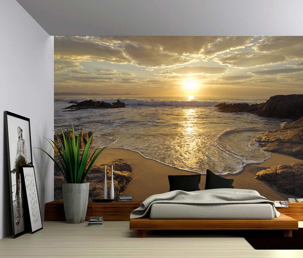 Sunrise sea ocean wave sunset beach large wall mural for Beach sunset mural