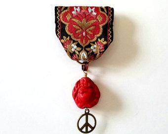 Moonflower Peace Medal (Black, red, gold jacquard ribbon. Buddha, peace sign)