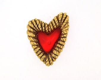 Vintage Balenciaga Heart Brooch Red Valentines Love