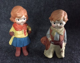 Vintage cowboy and cowgirl figurines Japan