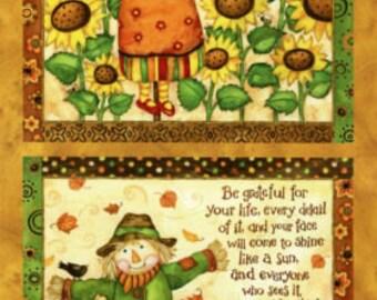 Grateful Harvest Panel by SPX Fabrics-Scarecrow-Sunflowers-Pumpkins