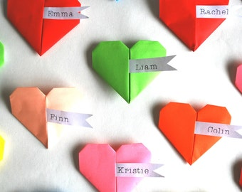 Origami Heart Place Settings - Wedding, Party, Celebration