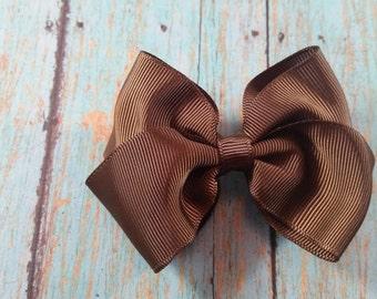 Medium Brown Hair Bow, Brown Hair Bow, Brown Bow, Hair Bow, Medium Brow Bow, Brown Bow, Toddler Brown Bow, Toddler Hair Bows, Cute Brown Bow