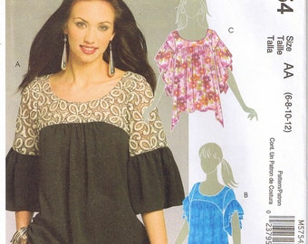 Easy Pullover Gathered Tops with Yoke and Gathered Flutter or Butterfly Sleeves McCalls 5754 Sewing Pattern Size 6 8 10 12