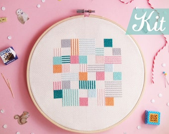 Modern Cross Stitch KIT, Geometric cross stitch, Abstract cross stitch, Beginner kit, Embroidery kit, DIY kit - Play with Squares n Lines