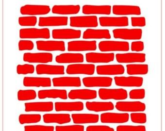 Bricks Background Stencil -- TWO Stock Sizes
