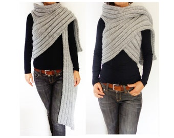 Knitting Pattern - Zendeya Inspired Wrap/Bulky Scarf/Super Chunky Poncho/Easy Knit Ribbed Jacket